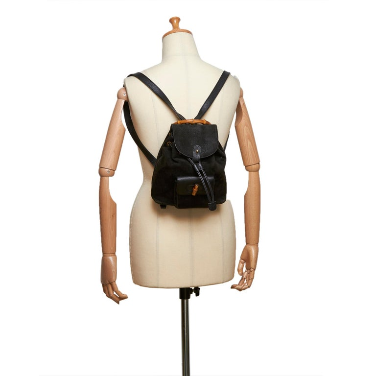 Gucci Black Bamboo Suede Drawstring Backpack For Sale 8