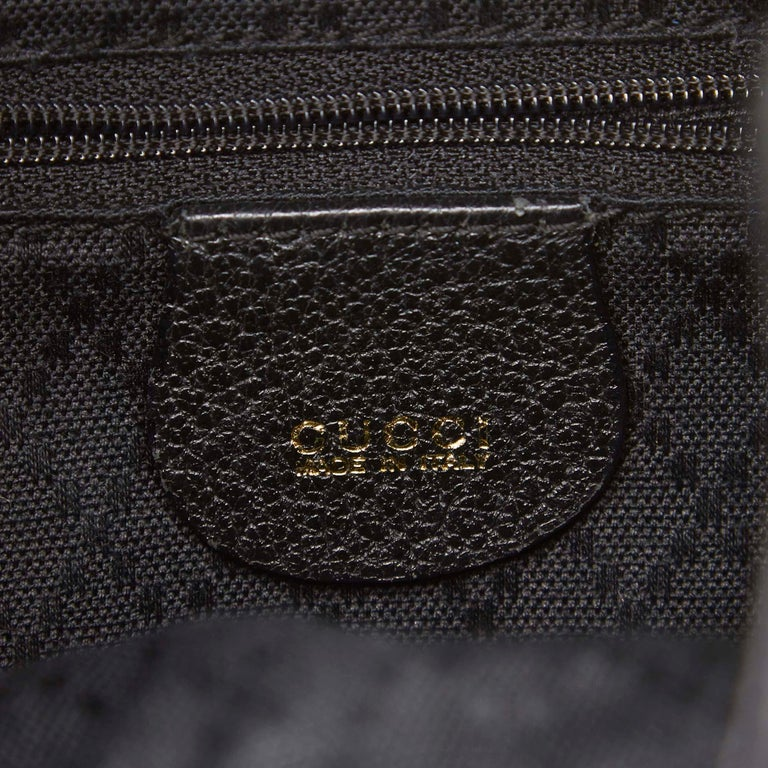 Gucci Black Bamboo Suede Drawstring Backpack For Sale 2