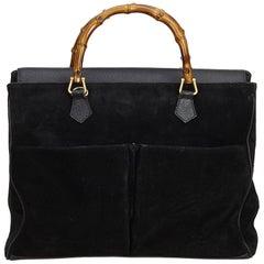 Gucci Black Bamboo Suede Handbag