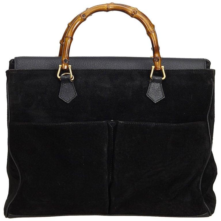 88907af85 Gucci Black Bamboo Suede Handbag at 1stdibs
