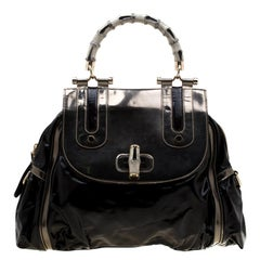 Gucci Black  Beige Coated Nylon and Leather Dialux Pop Bamboo Top Handle Bag