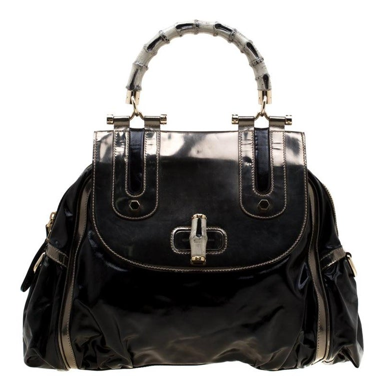 Gucci Black  Beige Coated Nylon and Leather Dialux Pop Bamboo Top Handle Bag For Sale