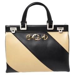Gucci Black/Beige Leather Zumi Diagonal Stripe Top Handle Bag