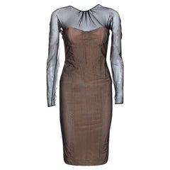 Gucci Black & Beige Tulle Long Sleeve Bustier Dress S