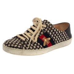 Gucci Black/Blue Canvas And Leather Web Sneakers Size 41