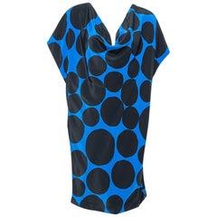 Gucci Black & Blue Dot Print Silk Draped Mini Dress M