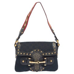 Gucci Black/Blue GG Canvas and Leather Studded Pelham Runway Flap Shoulder Bag