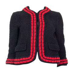 GUCCI black blue red WEB BOUCLE TWEED CROPPED Jacket 42 M