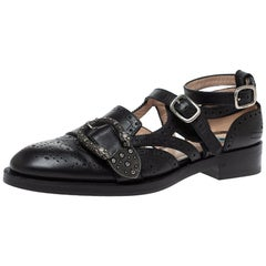 Gucci Black Brogue Leather Queercore Ankle Strap Flats Size 39.5