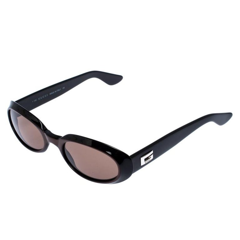 Gucci Black/Brown GG 2419 Vintage Oval Sunglasses For Sale 1