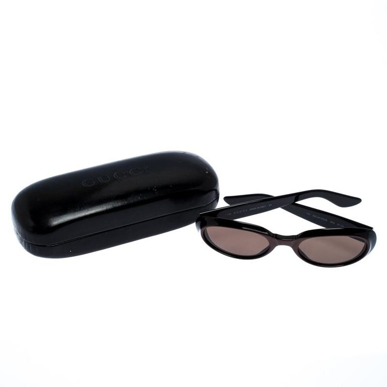 Gucci Black/Brown GG 2419 Vintage Oval Sunglasses For Sale 3