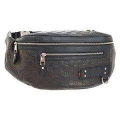 Gucci Black Brown Leather GG Logo Men's Women's Travel Fanny Pack Waist Belt Bag