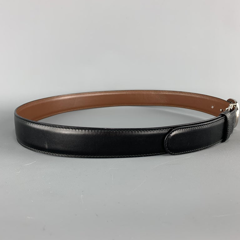GUCCI Black & Brown Reversible Leather Silver Tone GG Belt In Good Condition For Sale In San Francisco, CA