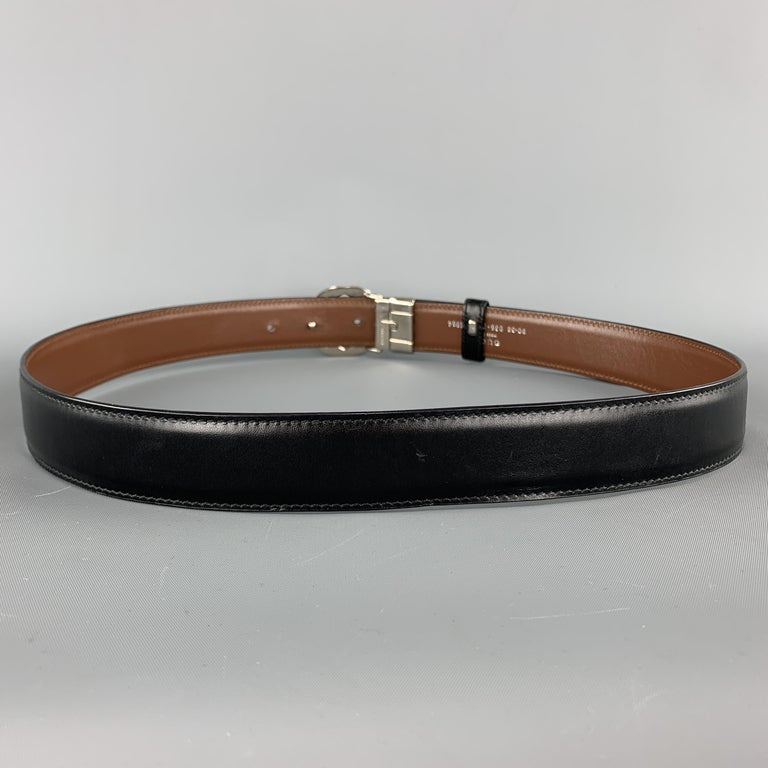 Men's GUCCI Black & Brown Reversible Leather Silver Tone GG Belt For Sale