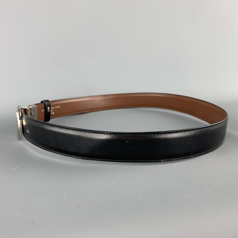 GUCCI Black & Brown Reversible Leather Silver Tone GG Belt For Sale 1