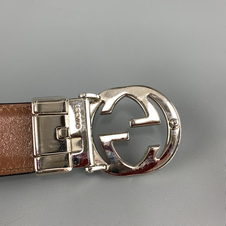 GUCCI Black & Brown Reversible Leather Silver Tone GG Belt For Sale 2