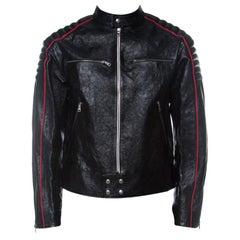 Gucci Black Calf Leather Quilt Detail Zip Front Biker Jacket M