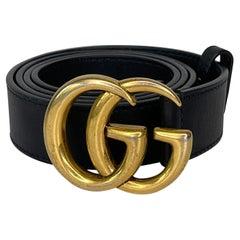 Gucci Black Calfskin Double G Belt (90/36)