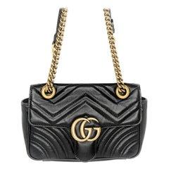 Gucci Black Calfskin Matelasse GG Marmont Mini Bag