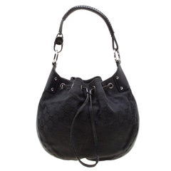 Gucci Black Canvas and Leather Drawstring Hobo