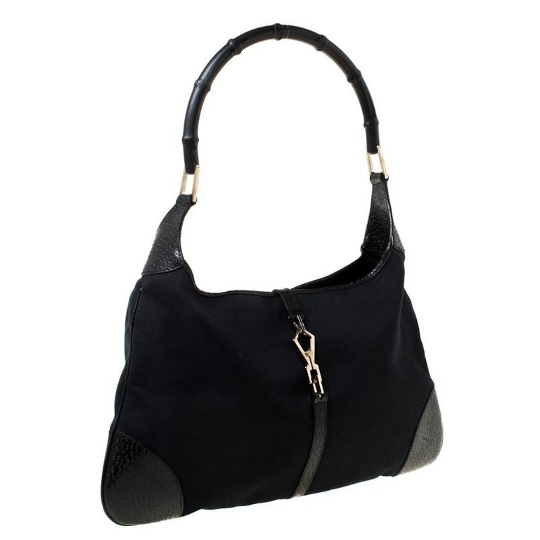 Women's Gucci Black Canvas and Leather Jackie Hobo For Sale