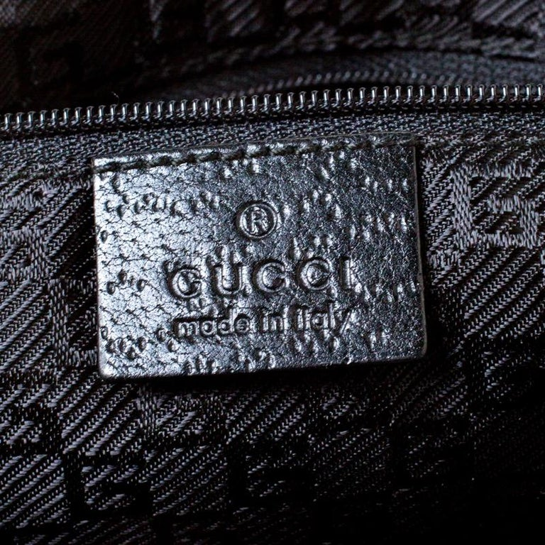 Gucci Black Canvas and Leather Jackie Hobo For Sale 3