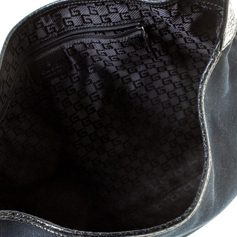 Gucci Black Canvas and Leather Jackie Hobo For Sale 4