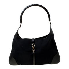 Gucci Black Canvas and Leather Jackie Hobo