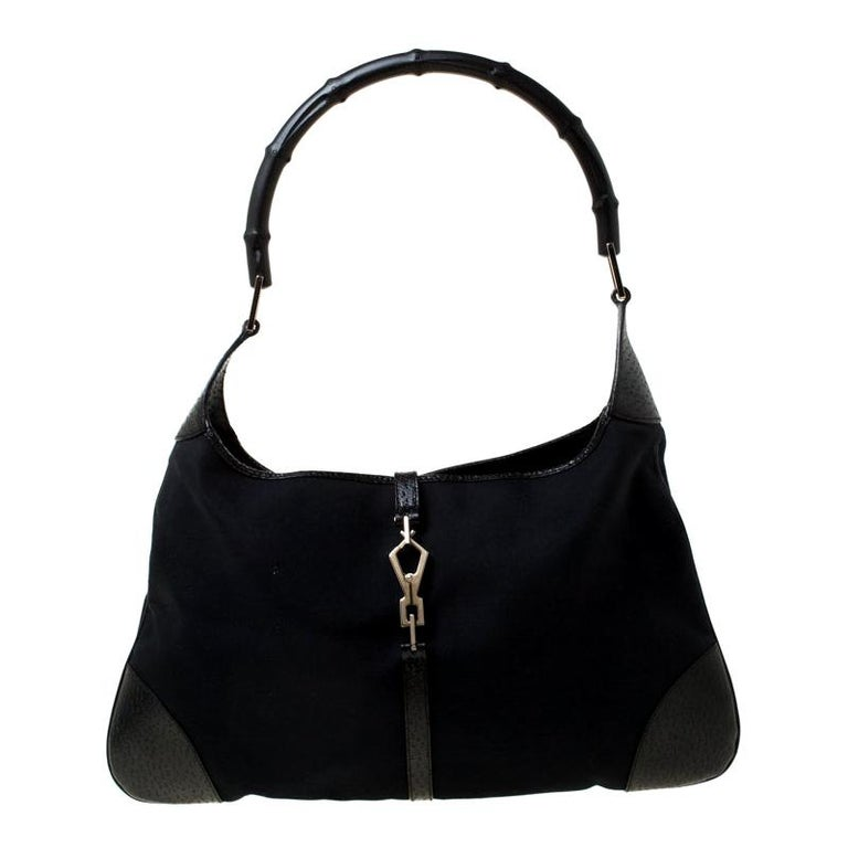 Gucci Black Canvas and Leather Jackie Hobo For Sale