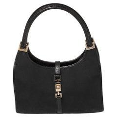 Gucci Black Canvas And Leather Jackie O Shoulder Bag