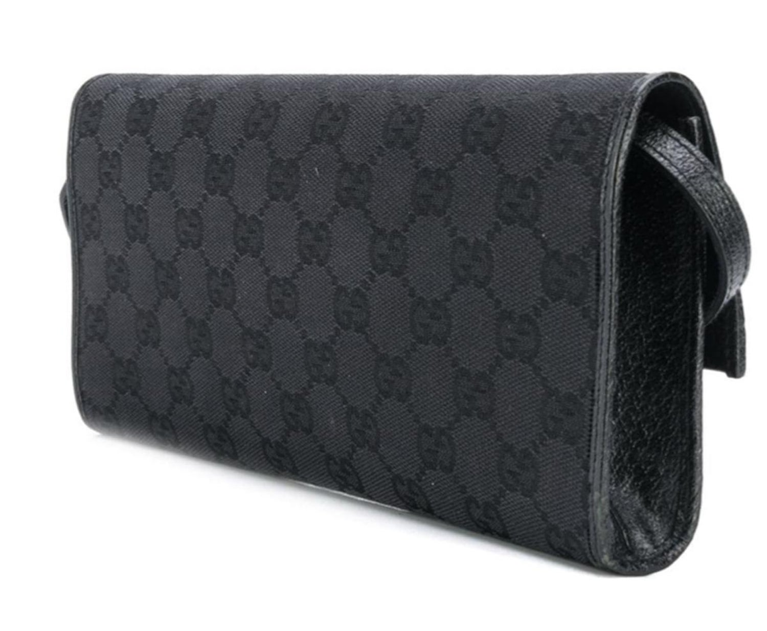 0ef1106c2599 Gucci Black Canvas Bamboo Clutch Bag For Sale at 1stdibs