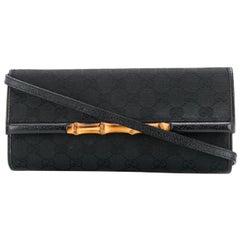 Gucci Black Canvas Bamboo Clutch Bag