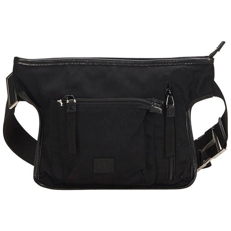 f3e180b3bb4cc Gucci Black Canvas Belt Bag at 1stdibs