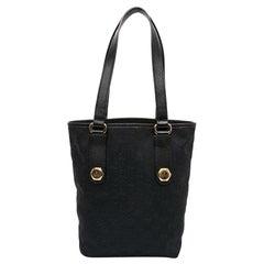 GUCCI Black Canvas Bucket Bag