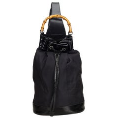 Gucci Black Canvas Fabric Bamboo Drawstring Backpack Italy