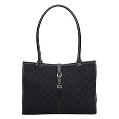 Gucci Black Canvas Fabric GG New Jackie Tote Italy
