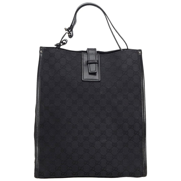 4d95243e3 Gucci Black Canvas Fabric GG Tote Bag Italy w/ Dust Bag For Sale at ...