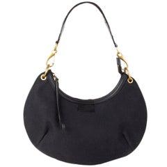 GUCCI black canvas HALF MOON CRESCENT Shoulder Bag