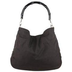 Gucci Black Canvas Hobo Shoulder Bag Tote Bamboo Handle