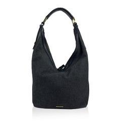 Gucci Black Canvas Hobo Shoulder Bag Tote with Stripes