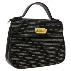 Gucci Black Canvas Leather Small Mini Top Handle Satchel Evening Shoulder Bag