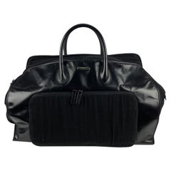 Gucci Black Canvas Leather Weekender Travel Duffle Duffel Bag