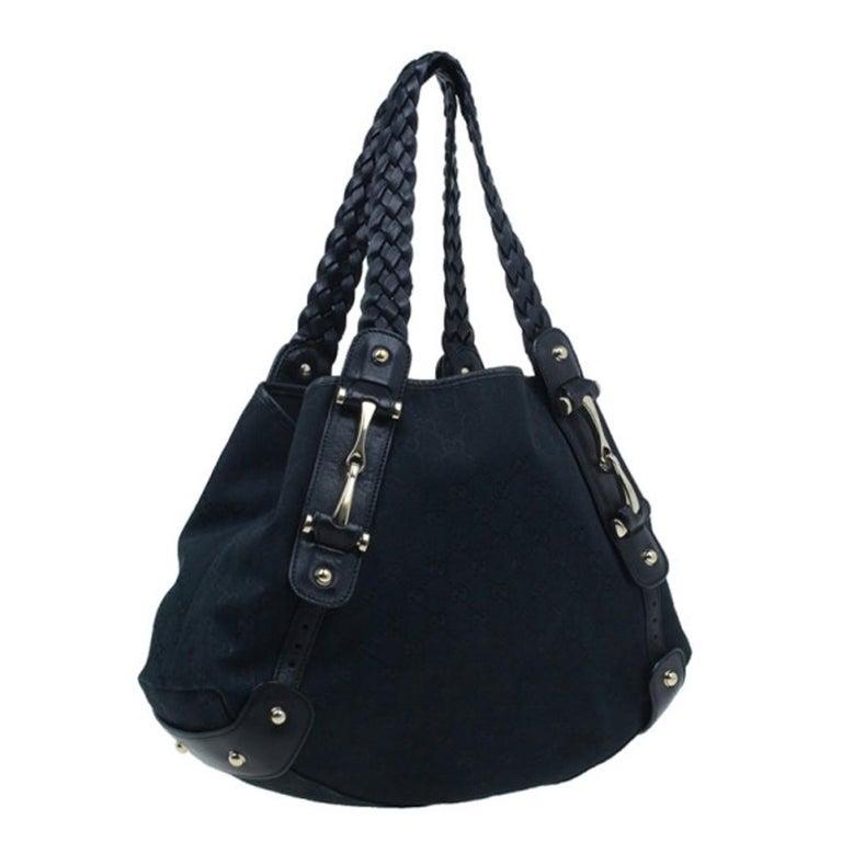 Women's Gucci Black Canvas Medium Pelham Shoulder Bag For Sale