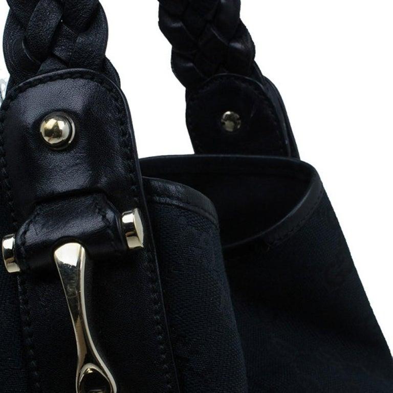 Gucci Black Canvas Medium Pelham Shoulder Bag For Sale 4