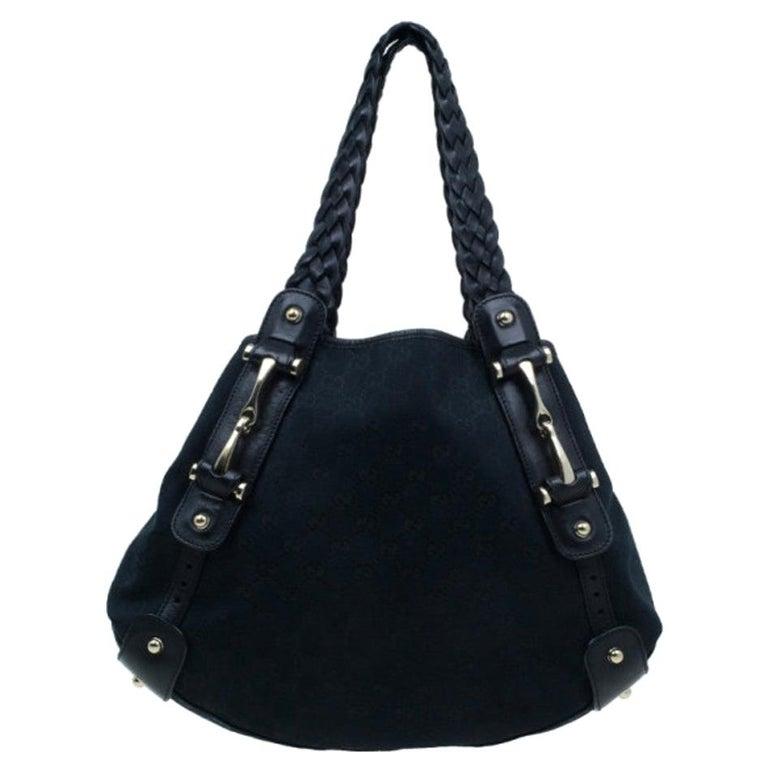 Gucci Black Canvas Medium Pelham Shoulder Bag For Sale