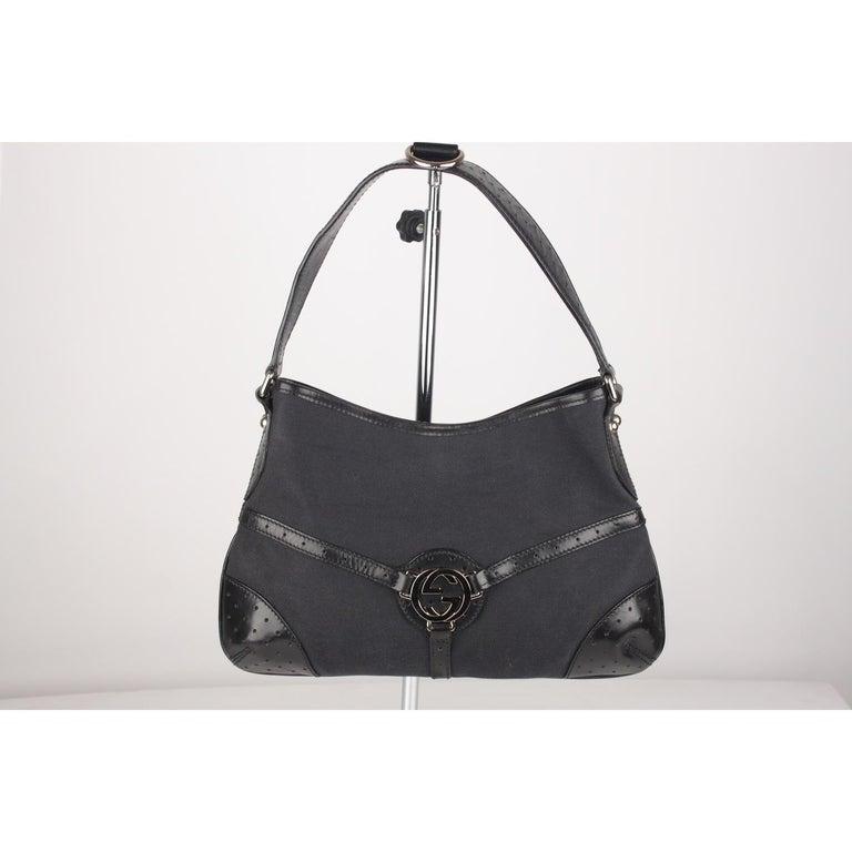 04c1802806ce Gucci Black Canvas Reins Hobo Shoulder Bag Tote For Sale at 1stdibs