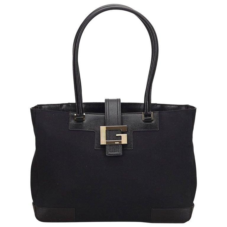 c63f4f860 Gucci black Canvas Tote Bag at 1stdibs