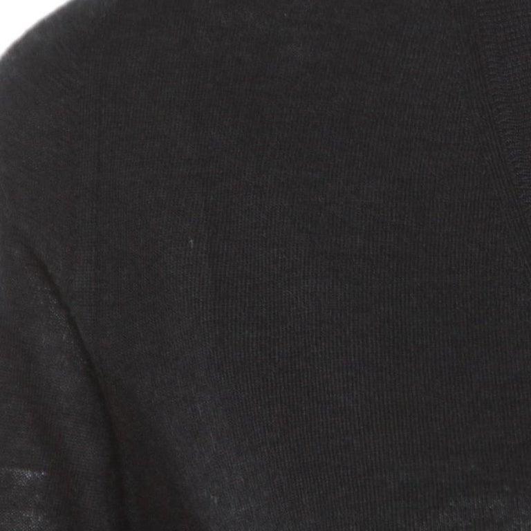 Gucci Black Cashmere Silk Knit V Neck Sweater S For Sale 1
