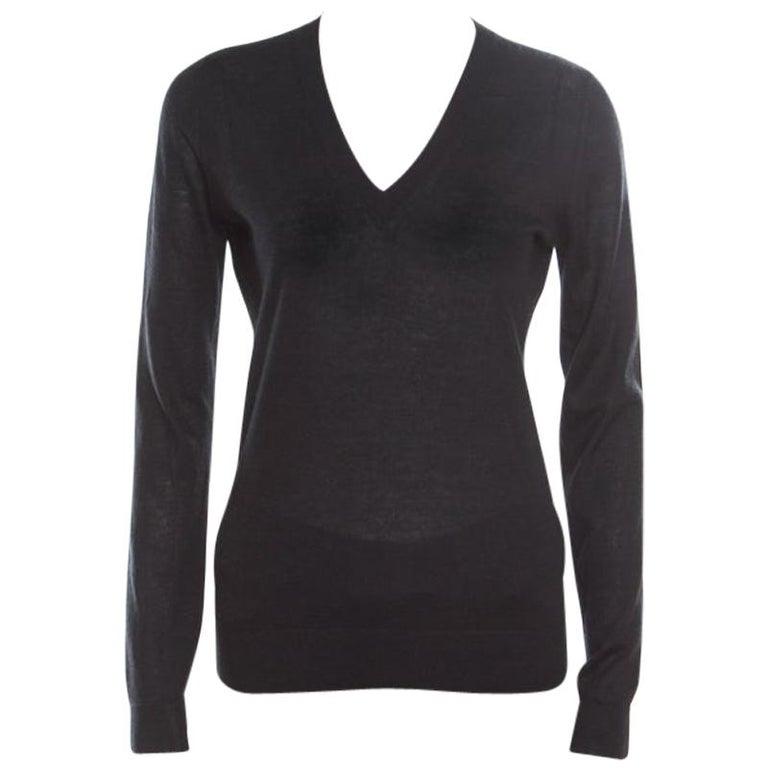 Gucci Black Cashmere Silk Knit V Neck Sweater S For Sale