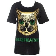 Gucci Black Cat Print Sequin Detail Guccification T-Shirt XS